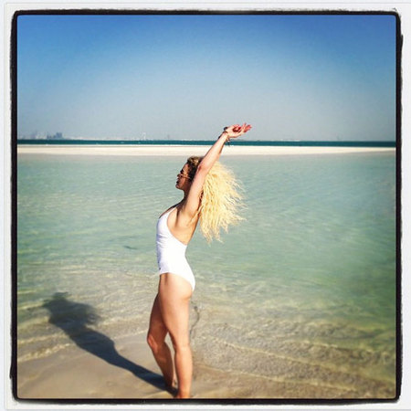 Rita Ora's white beachwear in Dubai