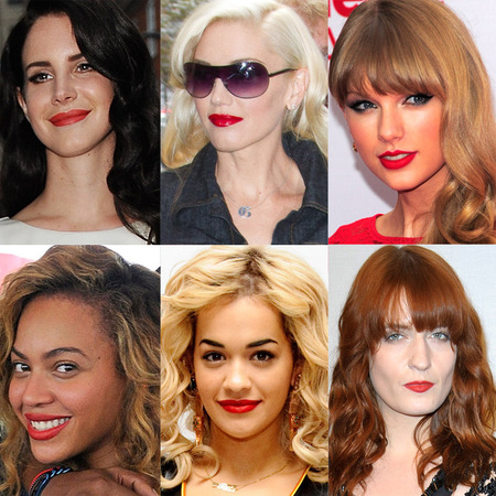 AW12 Celebrity red lips trend