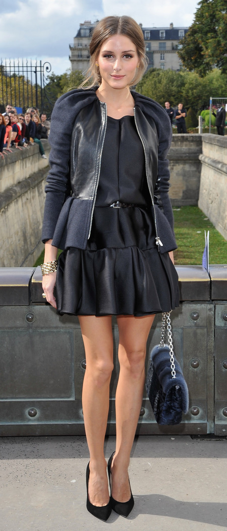Olivia Palermo's leather panelled peplum jacket