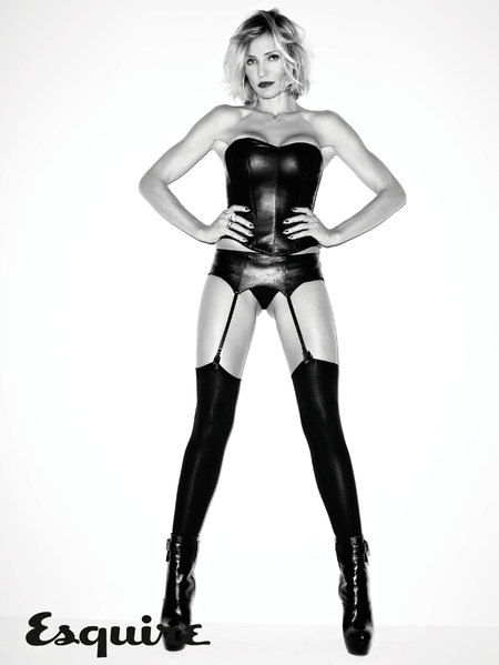 cameron diaz leather outfit Esquire magazine