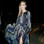 Cara Delevingne parties in peacock shades