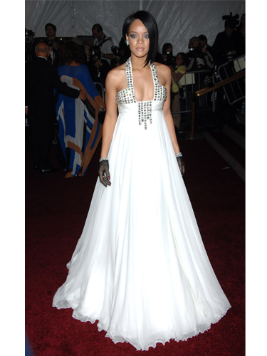 Rihanna wearing white princess dress