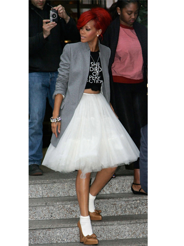 Rihanna wearing tutu skirt and blazer
