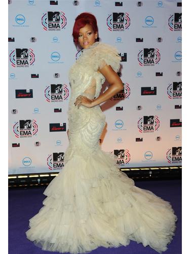 Rihanna in fluffy white dress
