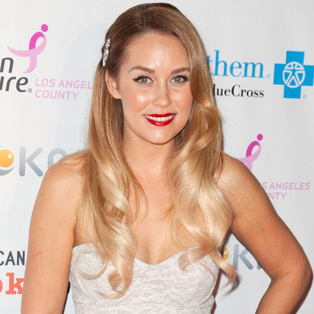 Lauren Conrad long blond hair and vintage brooch at Designs For The Cure Gala Oct 2012
