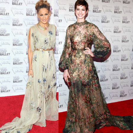 Sarah Jessica Parker and Anne Hathaway in Valentino at New York City Ballet Gala 2012