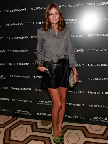 Olivia Palermo's leather shorts
