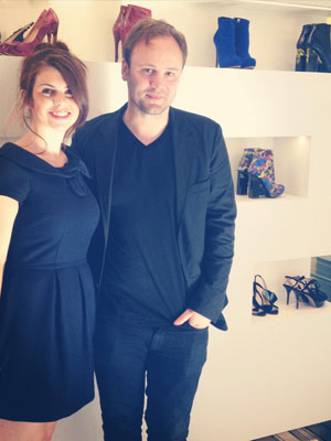 Amy Lewis with Nicholas Kirkwood