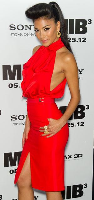 Nicole Scherzinger in pussy bow dress