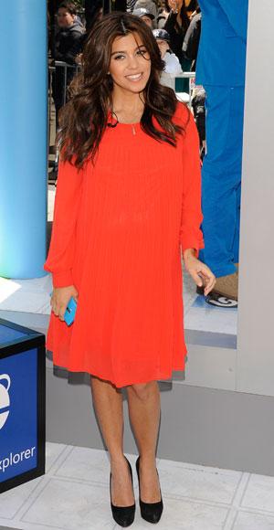 Kourtney Kardashian in a smock dress