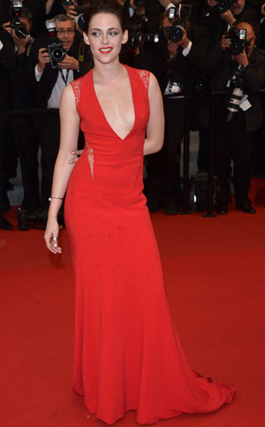 Kristen Stewart in a a red carpet gown