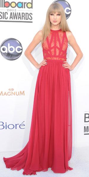 Taylor Swift in a sheer bodice dress