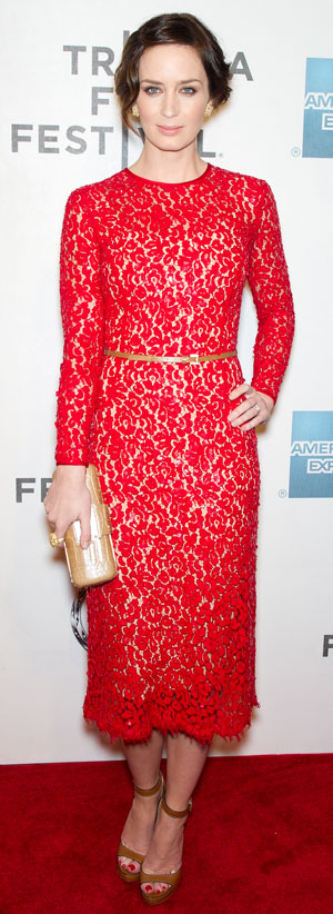 Emily Blunt in a lace dress