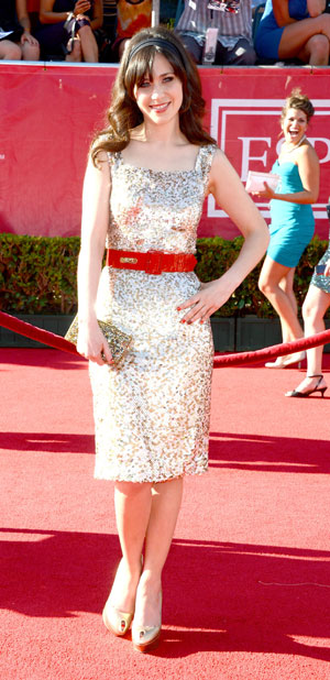 Zooey Deschanel sparkles in sequin Oscar de la Renta dress at ESPY Awards