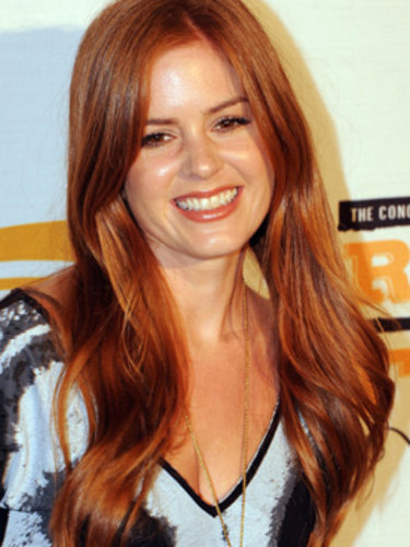 Isla Fisher's long, red hair