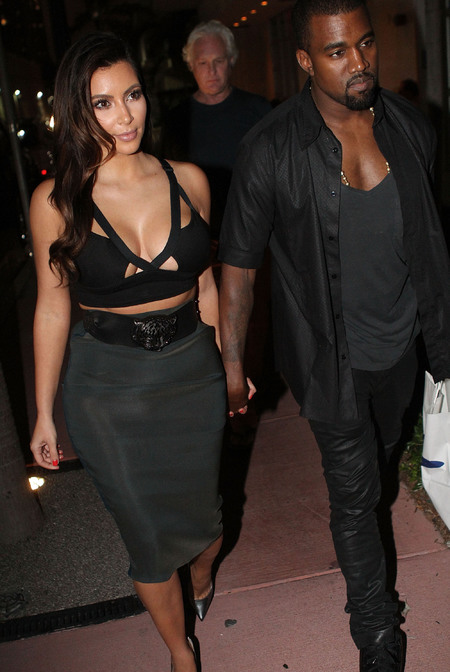 Kim and Kanye wear black and grey