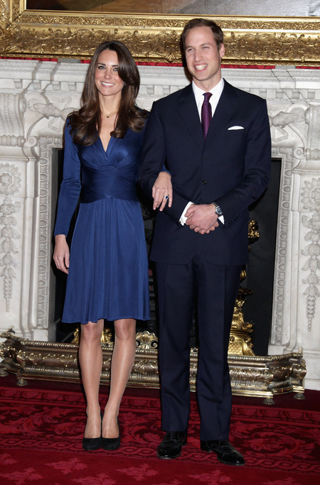 Kate and William after announcing their engagement