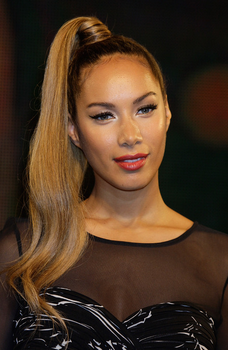 Leona Lewis's high wrap around ponytail