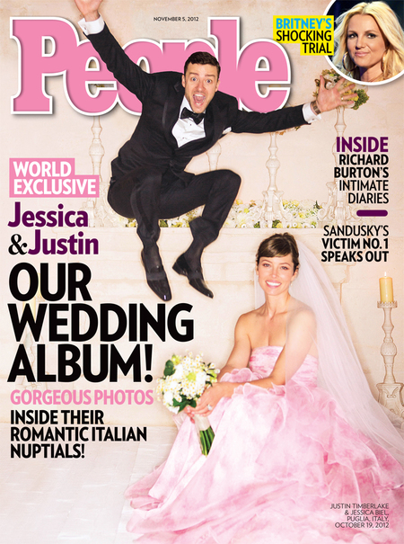 Jessica Biel's pink wedding dress