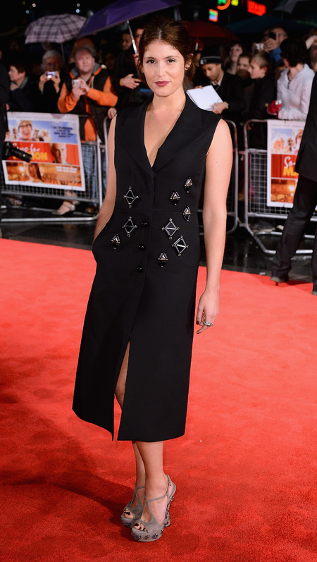 Gemma Arterton in Prada coat dress