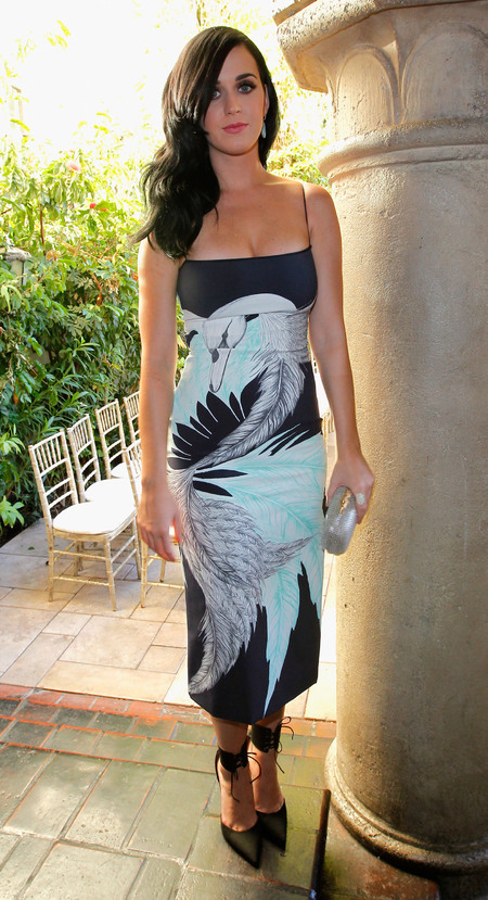 Katy Perry works statement swan print dress at Vogue Fashion Fund
