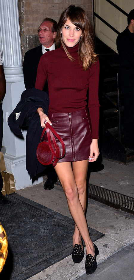 Alexa Chung does double deep berry hues