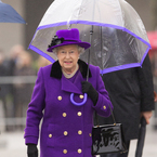 The Queen rocks vibrant purple in London