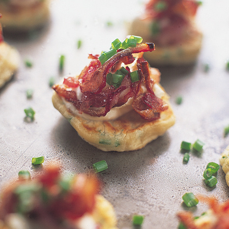 Chive pancake canape recipe
