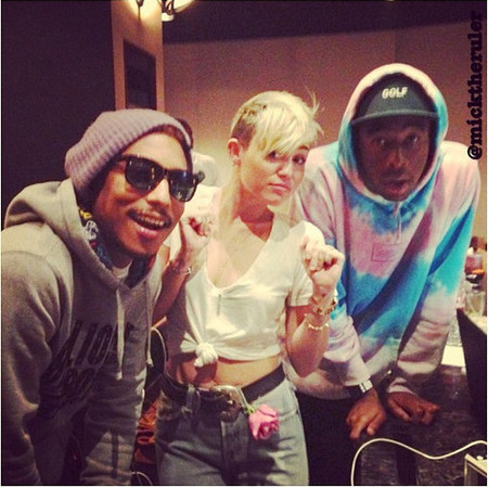 Miley with Pharell and Tyler