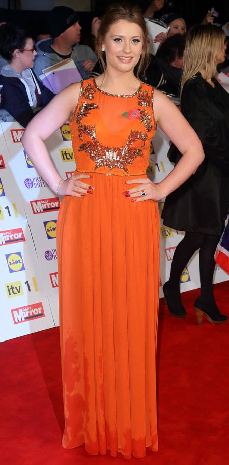 Ella Henderson orange Virgos Lounge dress Pride Of Britain Awards