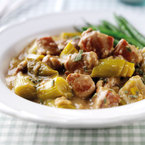 Oaty pork with a leek and cider sauce