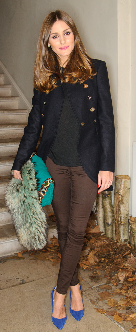 Olivia Palermo's blue stilettos