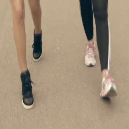 Millie Mackintosh running in wedge trainers
