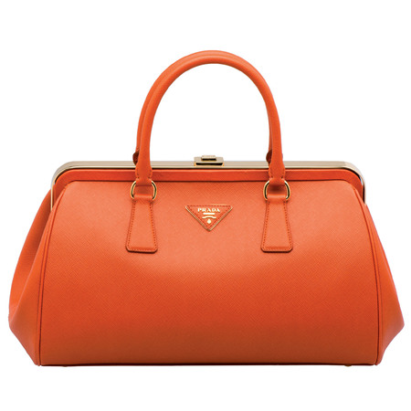 Prada papaya saffiano lux bag from the Fall/Winter 2012