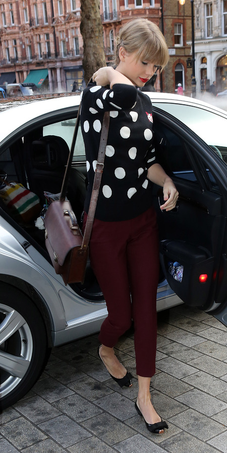 Taylor Swift is pretty in polka dots & plum in London