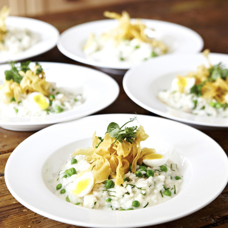 Smoked Haddock, egg and parsnip crisps