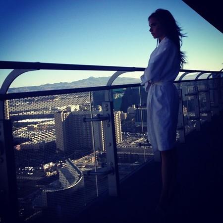 Victoria Beckham hits Vegas in a white robe