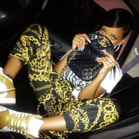 Rihanna wears Nike trainers
