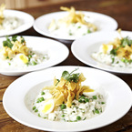 Smoked haddock risotto with quail eggs