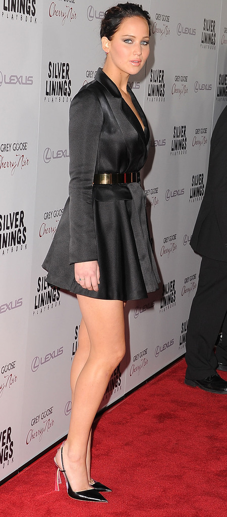 Jennifer Lawrence: Black coat dress