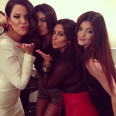 Kardashian's do matching sleek and straight hair at X Factor USA