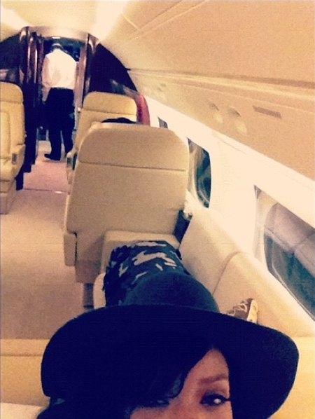 Rihanna in her private jet