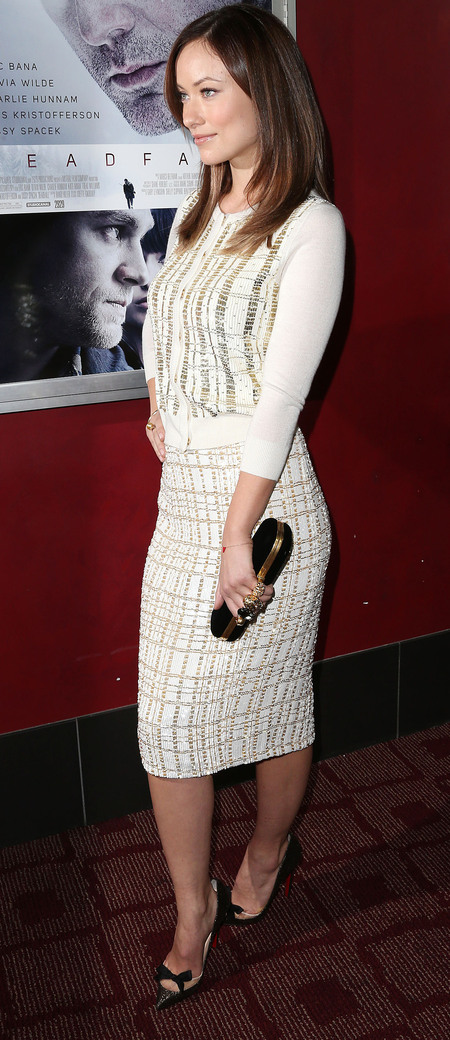 Olivia Wilde in L'Wren Scott at Deadfall premiere, with Christian Louboutin heels and Alexander McQueen clutch