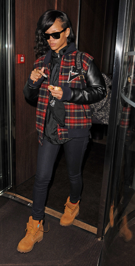 Rihanna works winter plaid and off-duty denim in London