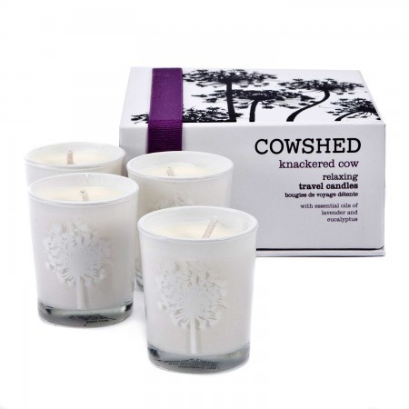 Knackered cow travel candles