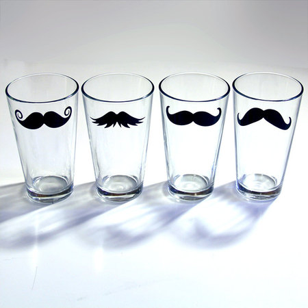 Manly moustache cups
