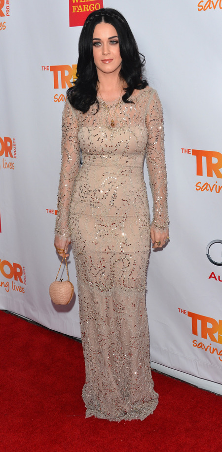 Katy Perry shimmers in nude sequin gown