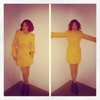 Jessie J covers up in bright yellow Moschino coat