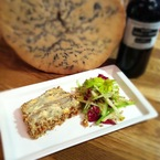 Port, stilton & pear terrine with walnuts