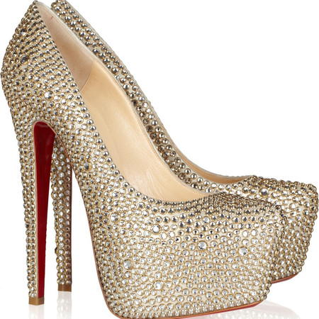 <a href=&quot;http://www.net-a-porter.com/product/178022&quot;>Christian Louboutin Daffodile 160 crystal-embellished suede pumps, £3,795, Net-A-Porter.com</a>